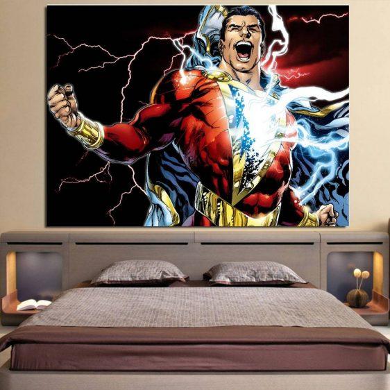 Captain Marvel Superhero Electric 1pc Wall Art Canvas Print