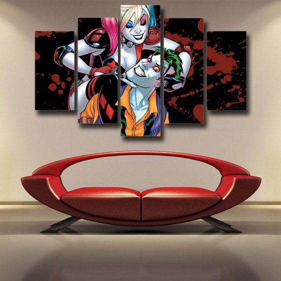 Harley Quinn And Joker Scary Smile Suicide Squad 5pcs Canvas Wall Art