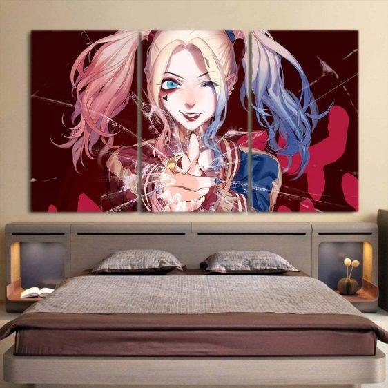 DC Comics Harley Quinn Cracked Glass 3D 3pcs Horizontal Canvas