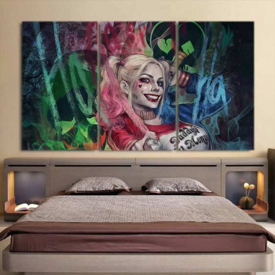 Harley Quinn Joker Smiling Colorful Print 3pcs Horizontal Canvas