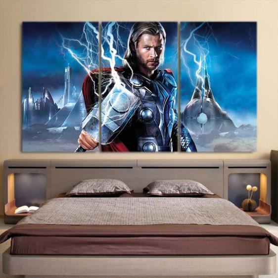 Asgardian God of Thunder Thor Enchanted Hammer 3pcs Canvas Horizontal Style
