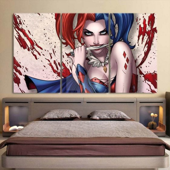 Harley Quinn Biting Knife Blue Cape Cool 3pcs Horizontal Canvas