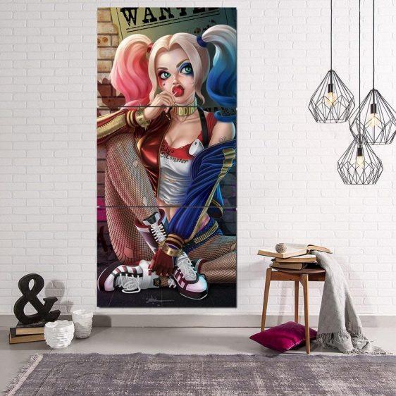 Suicide Squad Harley Quinn Sitting Pose 3pcs Vertical Canvas