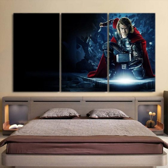 Thor Real Big Getting Power From Hammer 3pcs Canvas Horizontal