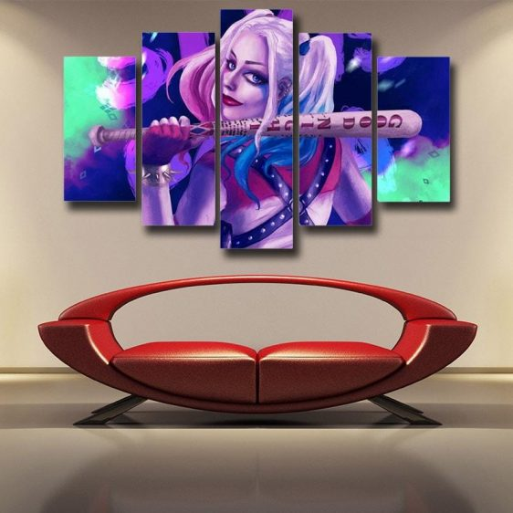Harley Quinn Back Posing Neon Night 3D Print 5pcs Canvas Wall Art