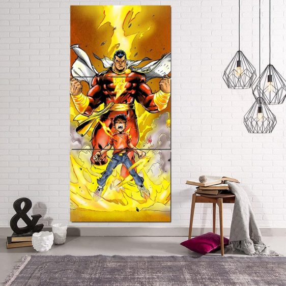 Young Billy Shazam Transformation 3pc Wall Art Canvas Print