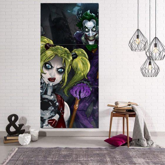 DC Comics Joker Harley Quinn Attacked On Dark 3pcs Vertical Canvas