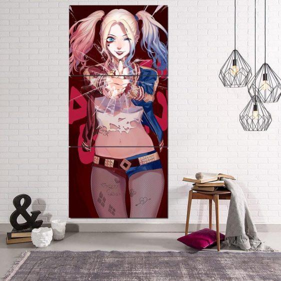 DC Comics Harley Quinn Cracked Glass 3D 3pcs Vertical Canvas