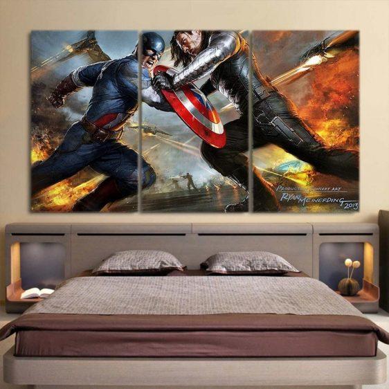 Marvel Comics Captain America Vs Thor 3pcs Canvas Horizontal