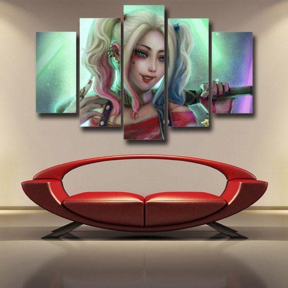 Harley Quinn Suicide Squad DC Comics Stolen Pose 5pcs Canvas Wall Art