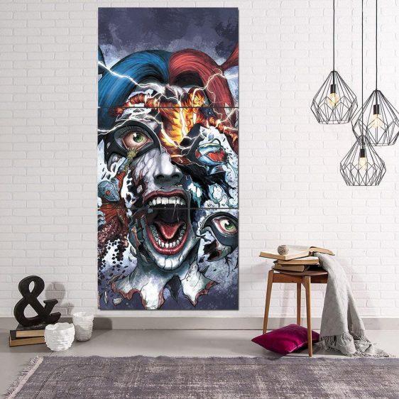 Harley Quinn Face Realistic Doodle Art 3pcs Vertical Canvas