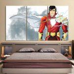 DC Comics Superhero Shazam White 3pc Wall Art Canvas Print