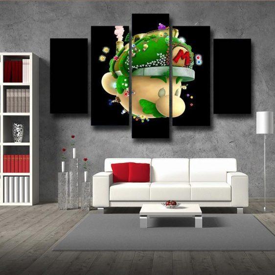 Super Mario Floral 5pc Wall Art Decor Posters Canvas Prints