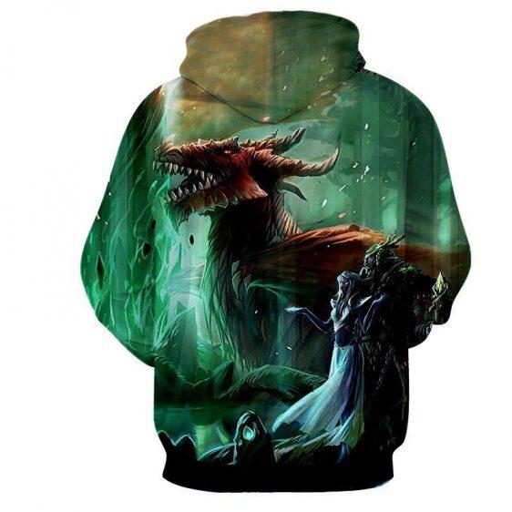 World of Warcraft Elf Dragon Fantasy Gaming Art Hoodie