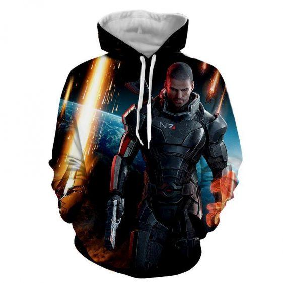Mass Effect Captain Shepard Earth Attack Full Print Hoodie
