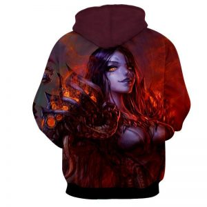 Diablo 3 Fan Art Demon Lord Female Version Game Design Hoodie - Superheroes Gears