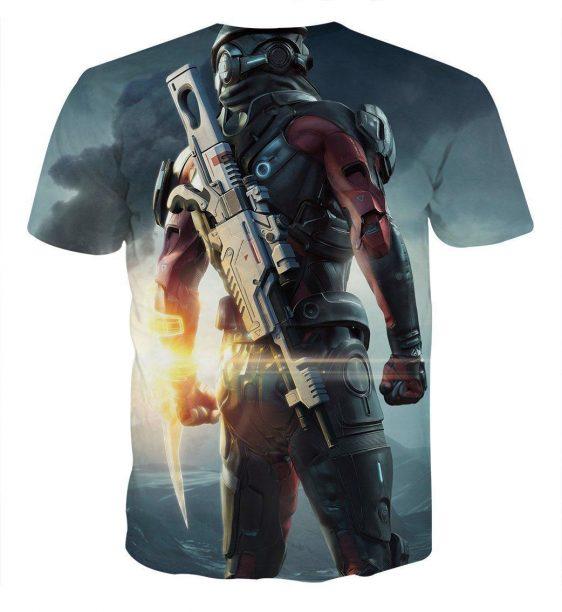 Mass Effect Captain Assault Rifle Laser Blade Cool T-Shirt - Superheroes Gears