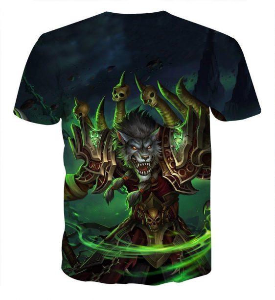 World of Warcraft Worgen Warlock Fanart Cool Game T-Shirt