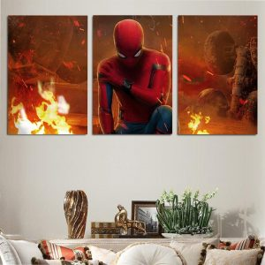 Spider-Man Far From Home Fiery 3pc Wall Art Canvas Print