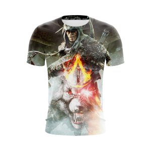 Assassin's Creed Connor White Angry Wolf Design Dope T-Shirt