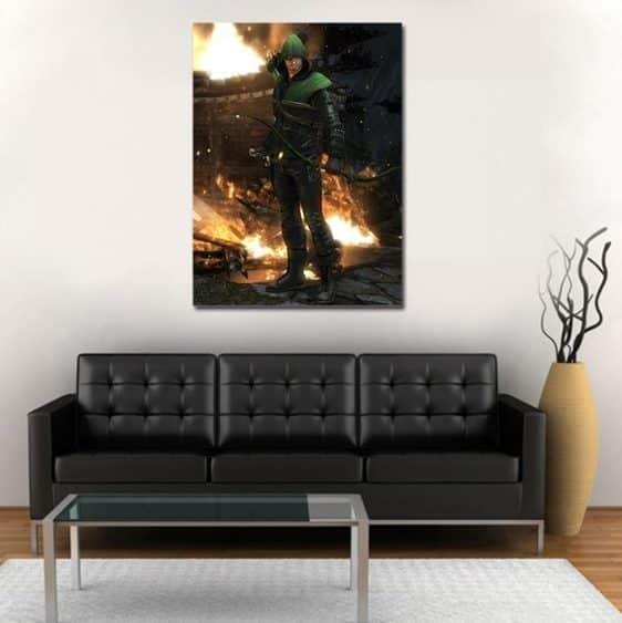 DC Comics Green Arrow Fiery Destruction 1pc Wall Art Canvas Print