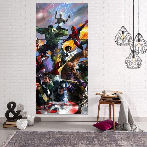 Marvel Superheroes Battle Scene Unique Style 3Pcs Canvas Print