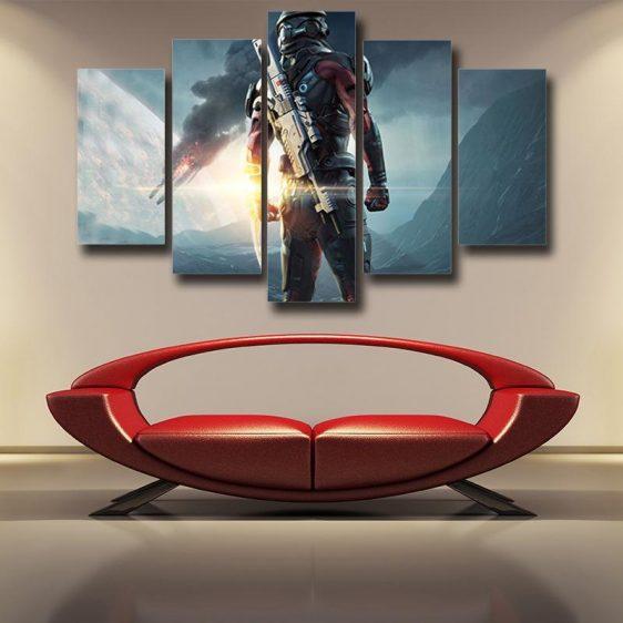 Mass Effect Captain Assault Rifle Laser Blade Cool 5pc Wall Art Prints - Superheroes Gears