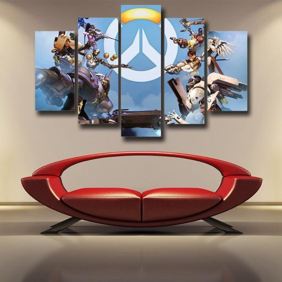 Overwatch Symbol Logo Heroes 5pc Wall Art Canvas Prints