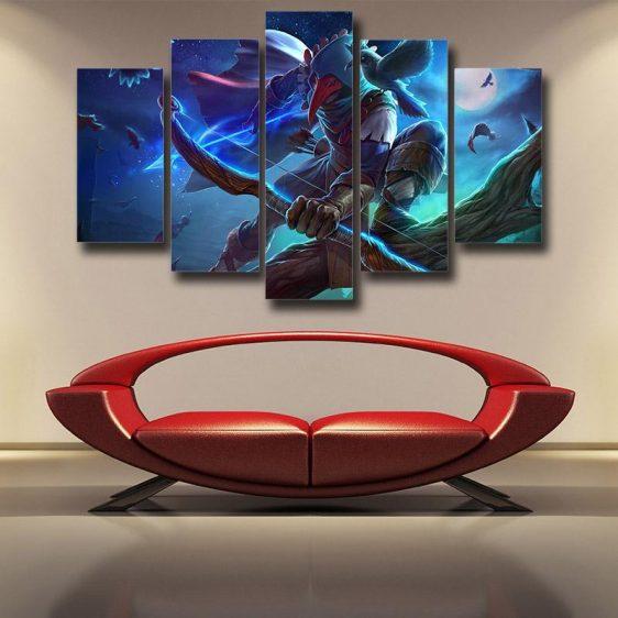 World of Warcraft Archer Raven Mask Vibrant Design 5pc Wall Art Prints