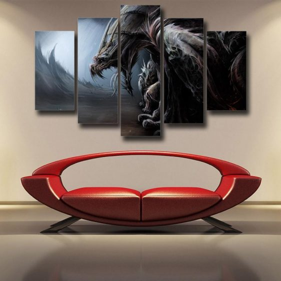 World of Warcraft Dragon Creature Fan Art Design 5pc Wall Art Prints