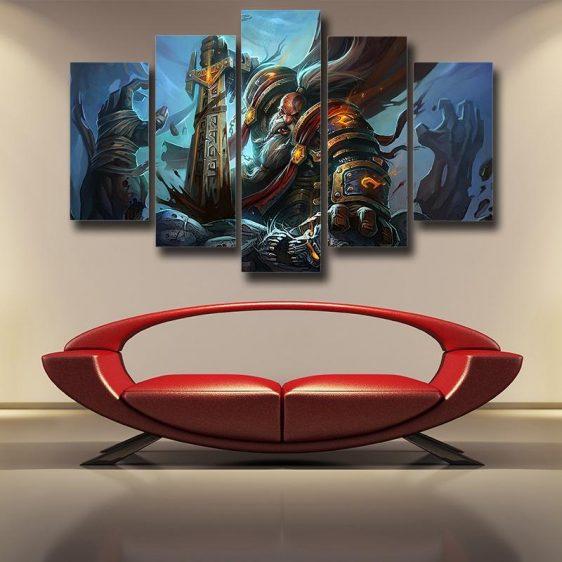 World of Warcraft Kurdran Drawf Warrior Art Gaming 5pc Wall Art Prints