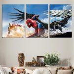 Spider-Man Ironman Vs Vulture Epic Battle 3pc Wall Art Canvas Print