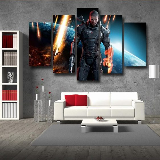 Mass Effect Captain Shepard Earth Attack 5pc Wall Art Canvas Prints