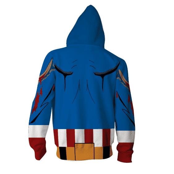 Civil War Captain America Hero 3D Cosplay Zip Up Hoodies
