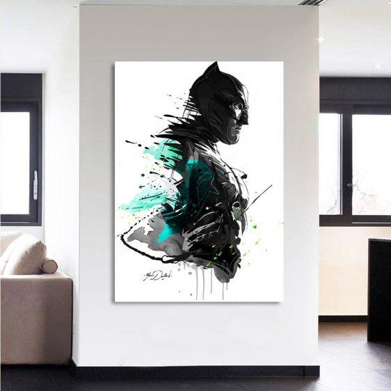 Cool Paint Art Design Batman Print On White 1pc Wall Art Canvas - Superheroes Gears