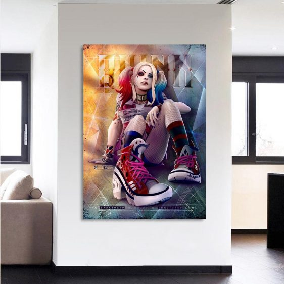 Harley Quinn Sitting With Her Red Sneaker 1pc Vertical Canvas