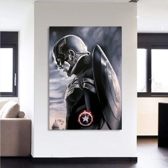 Captain America Side Pose With Shield 1pc Vertical Canvas