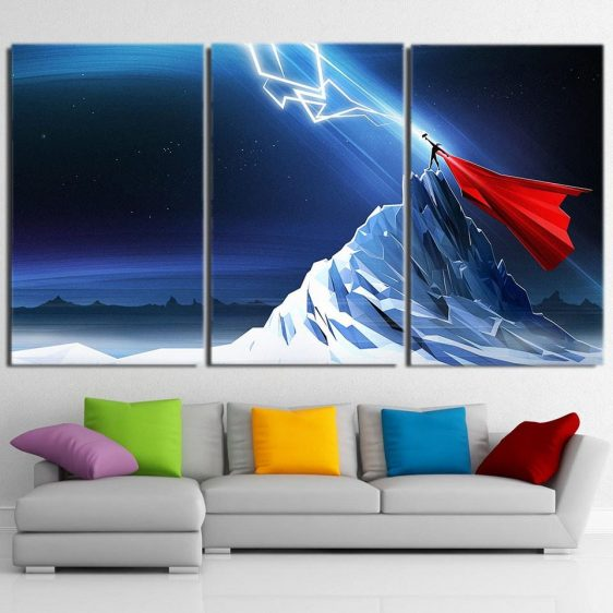 Thor Get Power From Hammer Standing Mountain 3 Pcs Canvas Horizontal