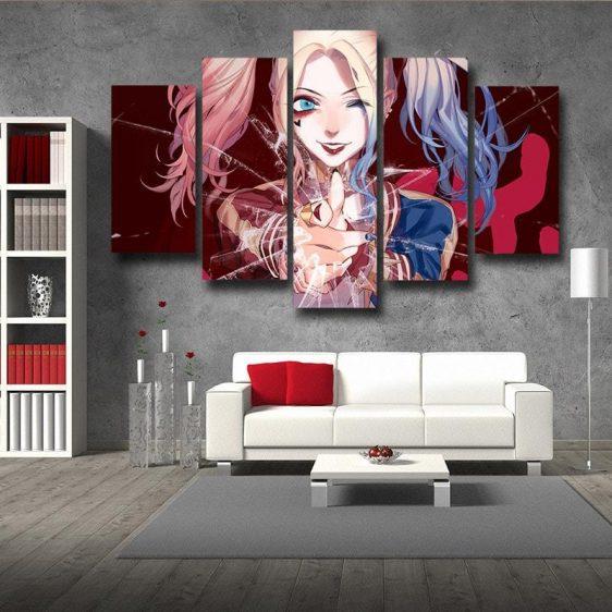 DC Comics Harley Quinn Cracked Glass 3D 5pcs Canvas Wall Art