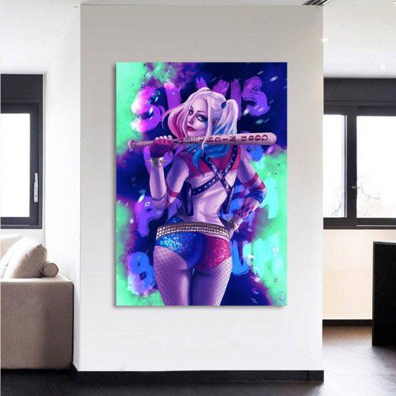 Harley Quinn Back Posing Neon Night Print 1pc Vertical Canvas