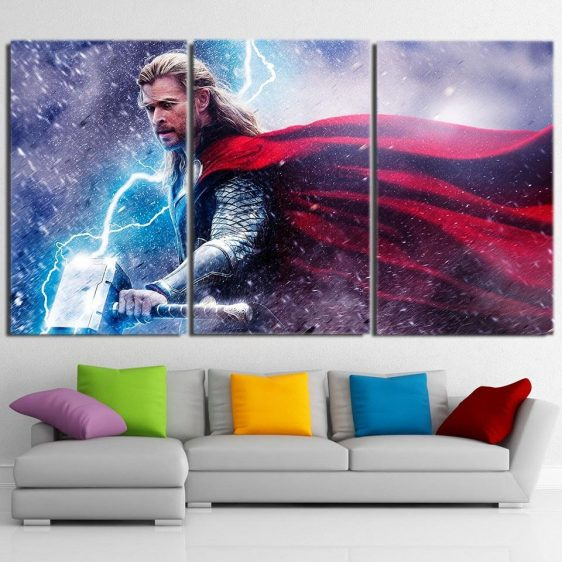 Thor Fighting Super Cool In Snow Thunderlight 3 Pcs Canvas Horizontal
