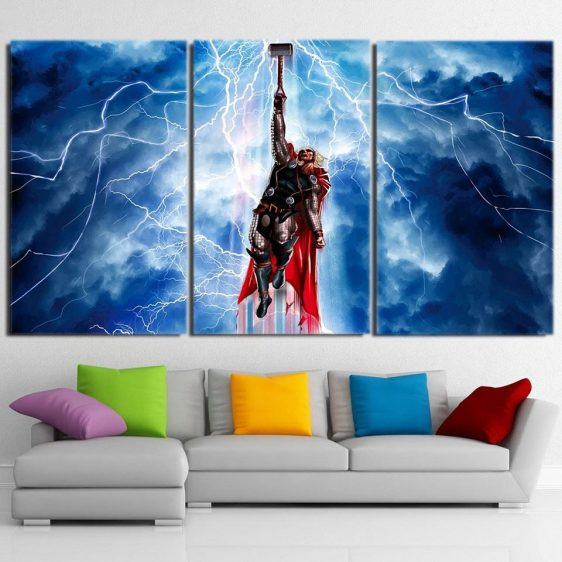 Thor Cartoon Flying Holding Hammer Amazing 3pcs Canvas Horizontal