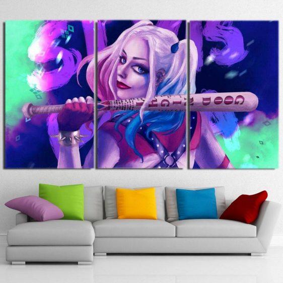 Harley Quinn Back Posing Neon Night 3D Print 3pcs Horizontal Canvas