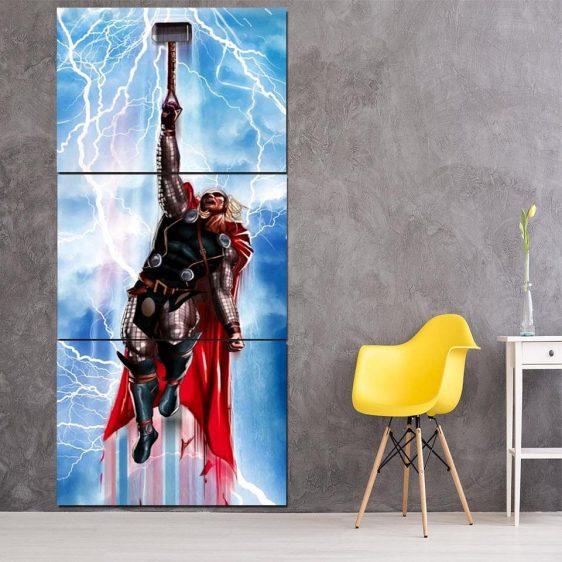 Thor Cartoon Flying Holding Hammer Amazing 3pcs Canvas Vertical