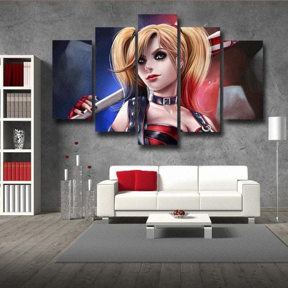 Sexy Harley Quinn Holding Baseball Bat Design 5pcs Canvas Wall Art