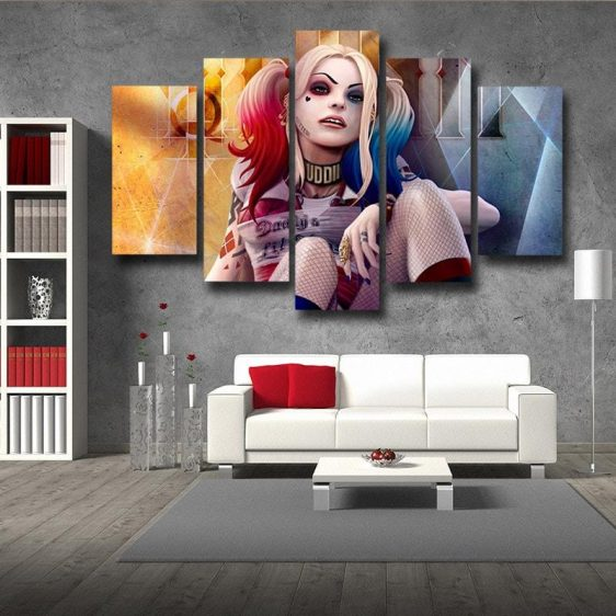 Harley Quinn Sitting With Red Sneaker On Amazing 5pcs Canvas Wall Art