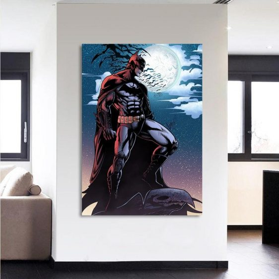 Batman Under The Moon With Bats And Night Blue Sea 1pc Wall Art Canvas - Superheroes Gears