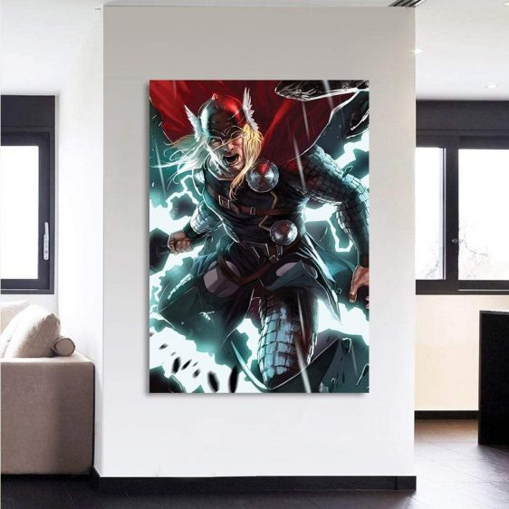 Thor Big Cartoon Super Angry On Fight 1pc Vertical Canvas