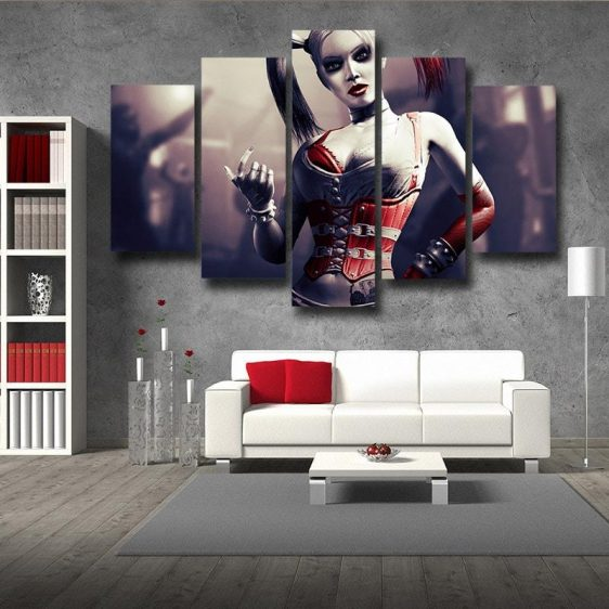 Harley Quinn Animated Design Suicide Squad Cool 5pcs Canvas Wall Art