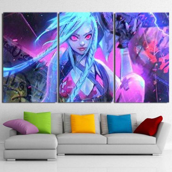 League Of Legends Jinx The Loose Canon 3pcs Horizontal Canvas